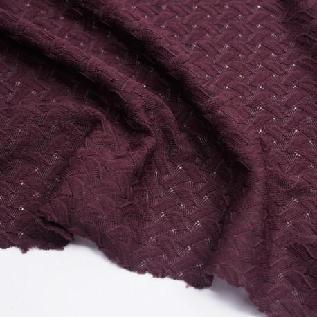 Tissu dentelle burgundy à motif vagues ajourées | pretty mercerie | mercerie en ligne