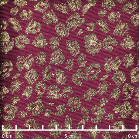 Tissu jacquard Tibetan red à motif léopard et fil lurex or | pretty mercerie | mercerie en ligne
