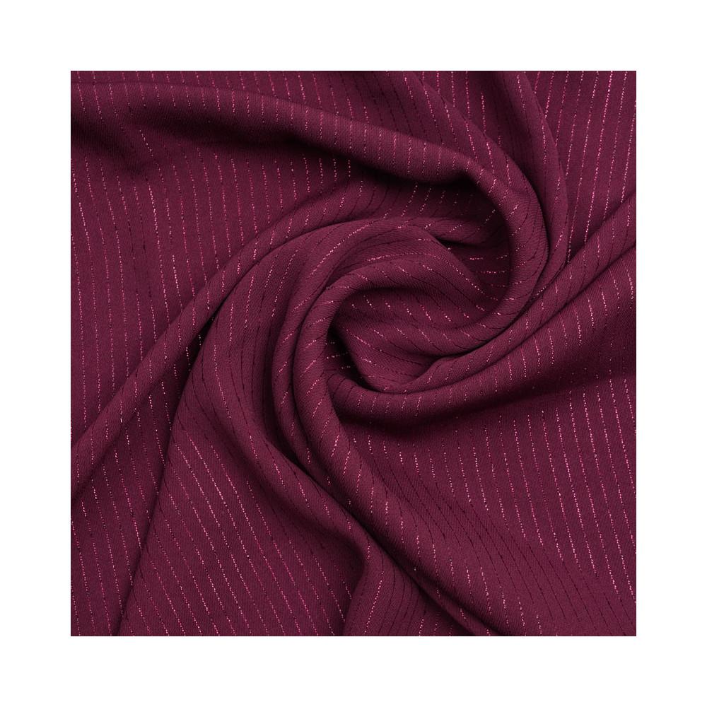 Tissu crêpe tibetan red à rayures lurex | pretty mercerie | mercerie en ligne