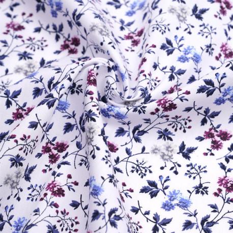 Tissu coton blanc à motif fleuri prune, bleu et gris | pretty mercerie | mercerie en ligne