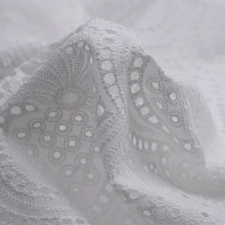 Tissu coton brodé blanc cassé à motif exotique vintage | pretty Mercerie | Mercerie en ligne