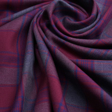 Tissu flanelle tissé à carreaux rhododendron, bleu et gris   Pretty Mercerie   mercerie en ligne
