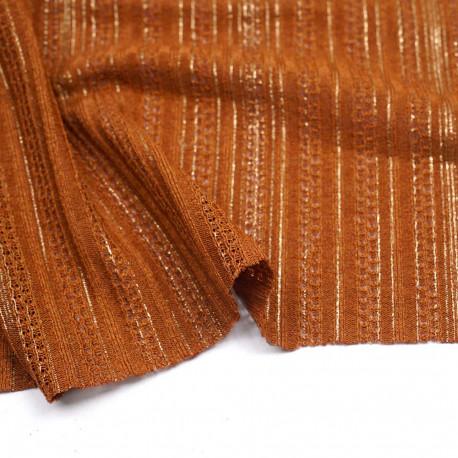 Tissu dentelle caramel à motif rayures ajourées or | Pretty Mercerie  | Mercerie en ligne
