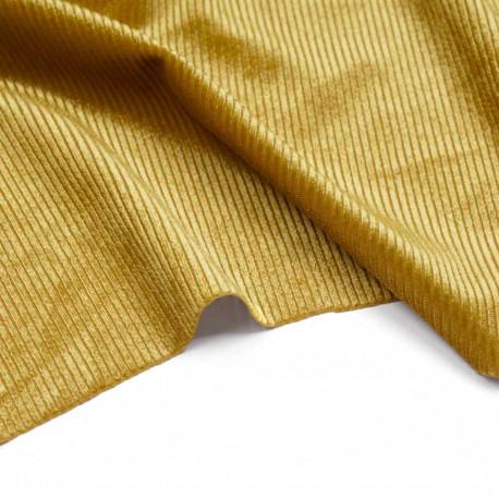 Tissu jersey velours côtelé lemon curry | Pretty Mercerie | Mercerie en ligne