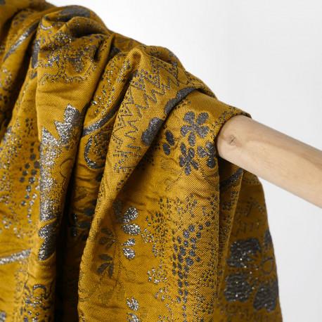 Tissu jacquard moutarde à motif fleuri fil lurex argenté | Pretty Mercerie | Mercerie en ligne