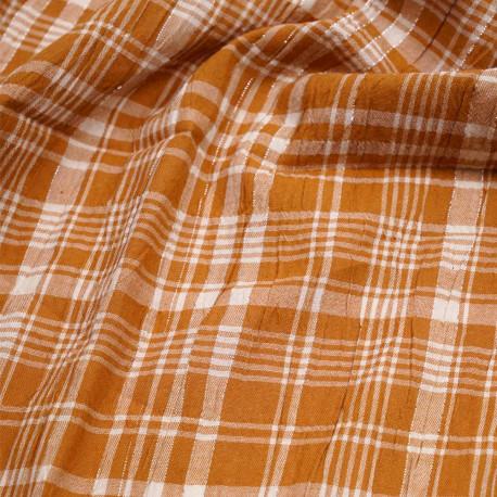 Tissu coton caramel effet froissé à carreaux blanc et fil lurex argenté   Pretty Mercerie   Mercerie en ligne
