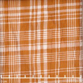 Tissu coton caramel effet froissé à carreaux blanc et fil lurex argenté | Pretty Mercerie | Mercerie en ligne