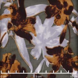 Tissu viscose kaki à motif fleurs abstraites bleu ciel et ginger | Pretty Mercerie | Mercerie en ligne