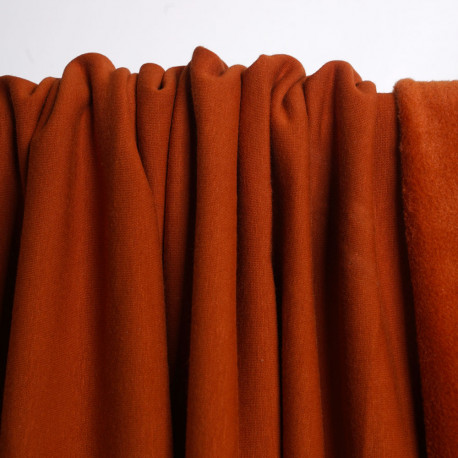Tissu sweat gratté orange rust | Pretty Mercerie | Mercerie en ligne