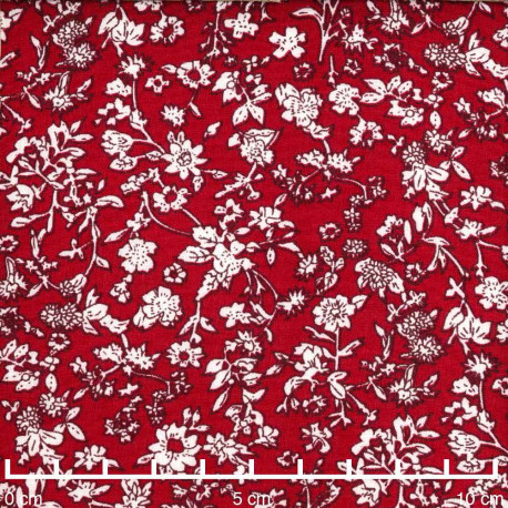 Tissu viscose lipstick red à motif fleurs des champs blanches | Pretty Mercerie | Mercerie en ligne