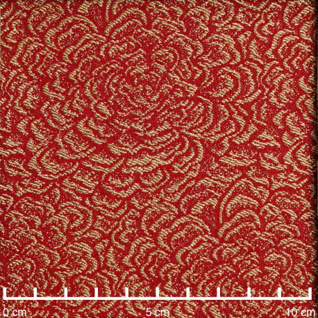 Tissu jacquard aurora red à motif tissé fleur beige | Pretty Mercerie | Mercerie en ligne