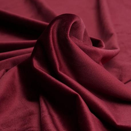 Tissu velours ras rouge garnet   Pretty Mercerie   Mercerie en ligne