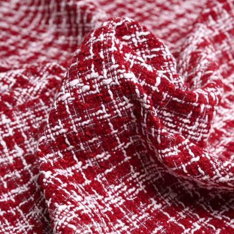 Tissu tweed rouge tango, blanc et fil lurex transparent   Pretty Mercerie   Mercerie en ligne