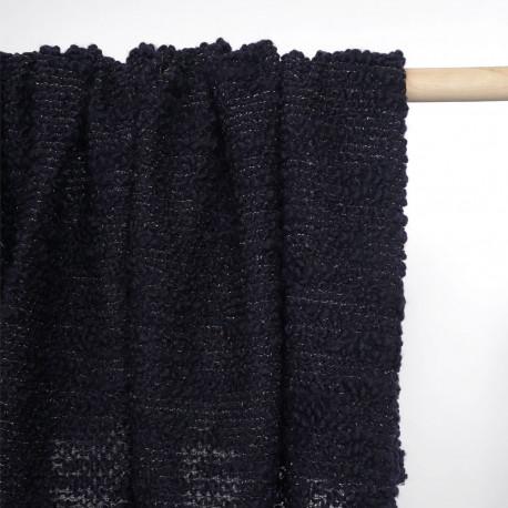 Tissu maille lainage bouclé et tricoté bleu marine et fil lurex or | Pretty Mercerie | mercerie en ligne