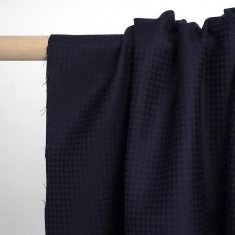 Tissu flanelle de laine bleu marine à motif pied de poule noir | Pretty Mercerie | mercerie en ligne