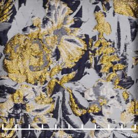 Tissu jacquard bleu ciel à motif tissé fleur bleu marine et doré | Pretty Mercerie | mercerie en ligne