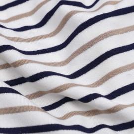 Tissu jersey blanc rayé bleu marine, beige et fil lurex argenté   Pretty Mercerie   mercerie en ligne