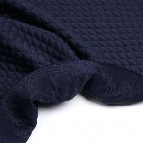 Tissu matelassé bleu marine à motif petits carreaux | Pretty Mercerie | mercerie en ligne