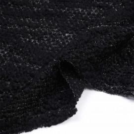 Tissu maille lainage bouclé et tricoté noir et fil lurex or | Pretty Mercerie | mercerie en ligne
