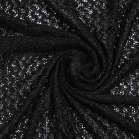 Tissu maille noir à motif ajouré | Pretty Mercerie | mercerie en ligne