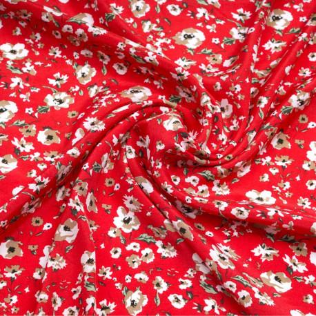 Tissu viscose rouge scarlet à motif fleuri blanc, beige et vert | Pretty Mercerie | Mercerie en ligne