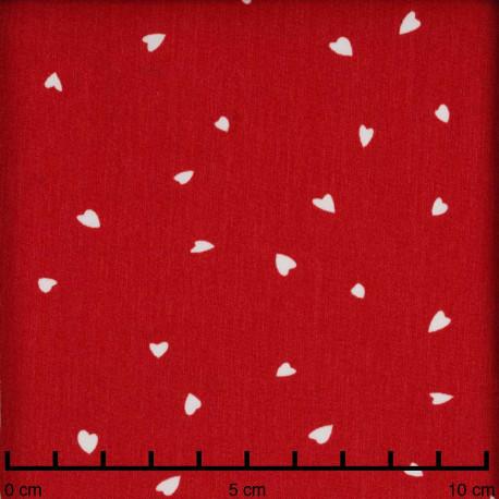 Tissu crêpe rouge bittersweet à motif petit coeur blanc | Pretty Mercerie | mercerie en ligne