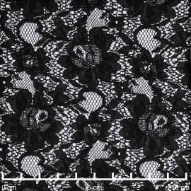 Tissu dentelle noir à motif fleuri marguerite | Pretty Mercerie | mercerie en ligne