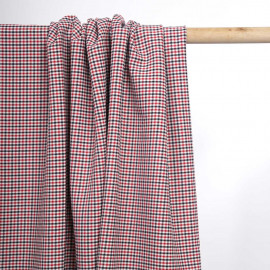 Tissu poly-viscose tissé vichy rouge et noir | Pretty Mercerie | mercerie en ligne
