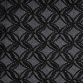 Tissu dentelle noir à motif fleurs entrelacées | Pretty Mercerie | mercerie en ligne