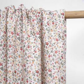 Tissu coton blanc à motif blooming rose et vert | Pretty Mercerie | Mercerie en ligne