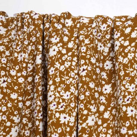 Tissu crêpe ginger à motif petites pâquerettes blanches au coeur mauve | Pretty mercerie | mercerie en ligne
