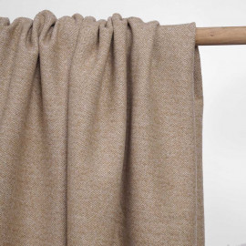 Tissu lainage tissé chevron blanc, tanin et fils dorés | pretty mercerie | mercerie en ligne