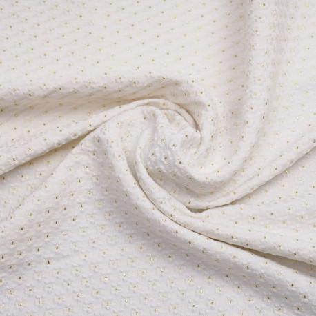Tissu jacquard blanc cassé à motif tissé petites marguerites au coeur dorées | pretty mercerie | mercerie en ligne