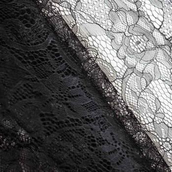 Tissu dentelle rose noir x 10cm