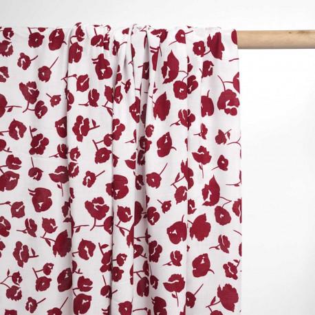 Tissu viscose blanc à motif fleuri cranberry | pretty mercerie | mercerie en ligne