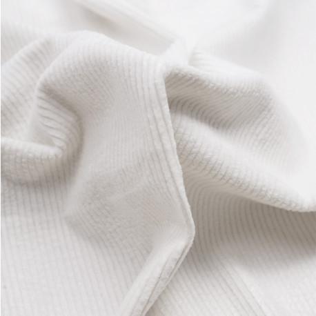 Tissu velours côtelé coton blanc cassé | Pretty mercerie | mercerie en ligne