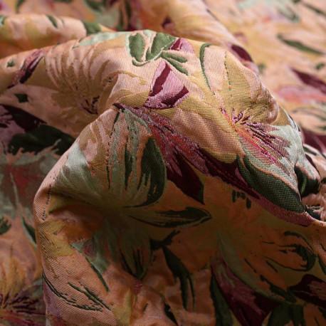 Tissu jacquard tropical peach à motif tissé fleurs tropicales roses et vertes | Pretty Mercerie | Mercerie en ligne