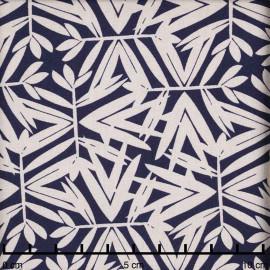 Tissu viscose bleu nuit à motif feuillage crème | Pretty Mercerie | mercerie en ligne
