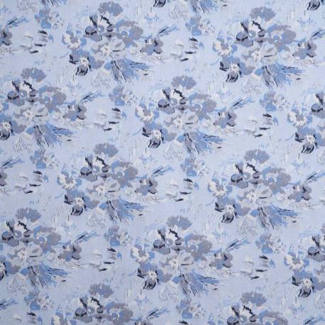 Tissu jacquard bleu ciel à motif tissé fleur bleu   Pretty Mercerie   mercerie en ligne