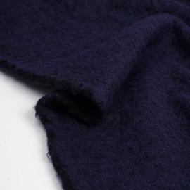 Tissu lainage maille tricoté bleu nuit | Pretty Mercerie | mercerie en ligne