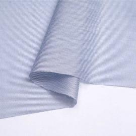 Tissu Lyocell satiné blanc à motif rayure tissé bleu marine | Pretty Mercerie | mercerie en ligne