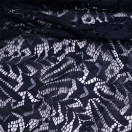 Tissu dentelle bleu marine à motif étoile filante   Pretty Mercerie   mercerie en ligne