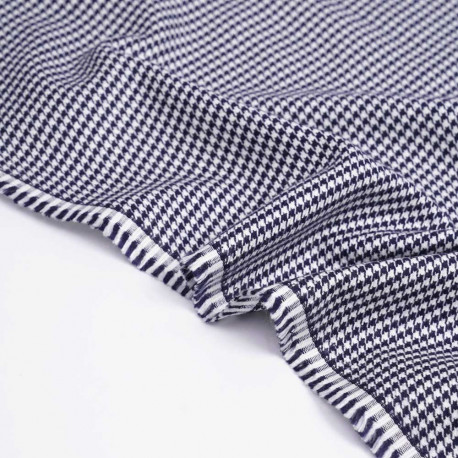 Tissu flanelle bambou à motif pied de poule bleu marine et blanc | Pretty Mercerie | mercerie en ligne