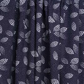 Tissu viscose bleu nuit à motif pois irrégulier blanc   Pretty Mercerie   mercerie en ligne