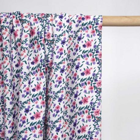 Tissu viscose blanc à motif printanier fleur rose, mauve et vert | Pretty Mercerie | mercerie en ligne