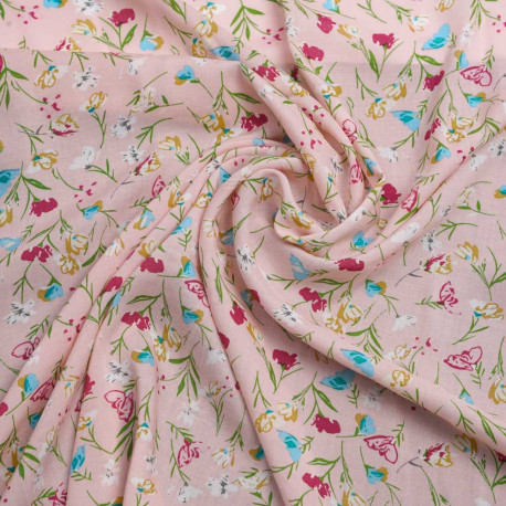 Tissu viscose rose pastel à motif printanier fleur fuchsia, bleu et jaune | Pretty Mercerie | mercerie en ligne