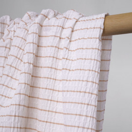 Tissu coton blanc froncé à rayures beige rosé | Pretty Mercerie | mercerie en ligne