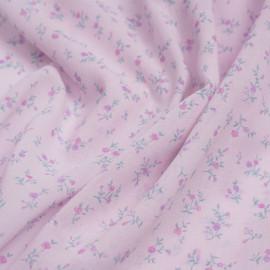 Tissu viscose rose pearl à motif petite fleur mauve et vert | Pretty Mercerie | mercerie en ligne