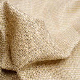 Tissu tissé jojoba et blanc à motif pied de poule et fil lurex or | Pretty Mercerie | Mercerie en ligne