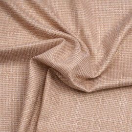 Tissu tissé café crème et blanc à motif pied de poule et fil lurex or | Pretty Mercerie | Mercerie en ligne
